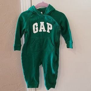 Baby Gap logo zip hoodie one-piece
